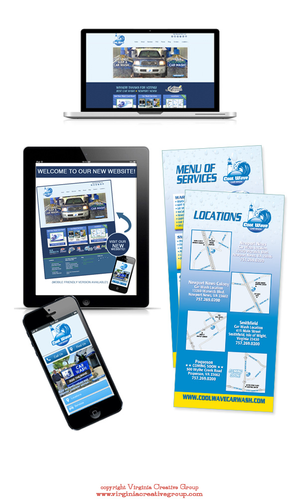 car wash website design and print collateral services