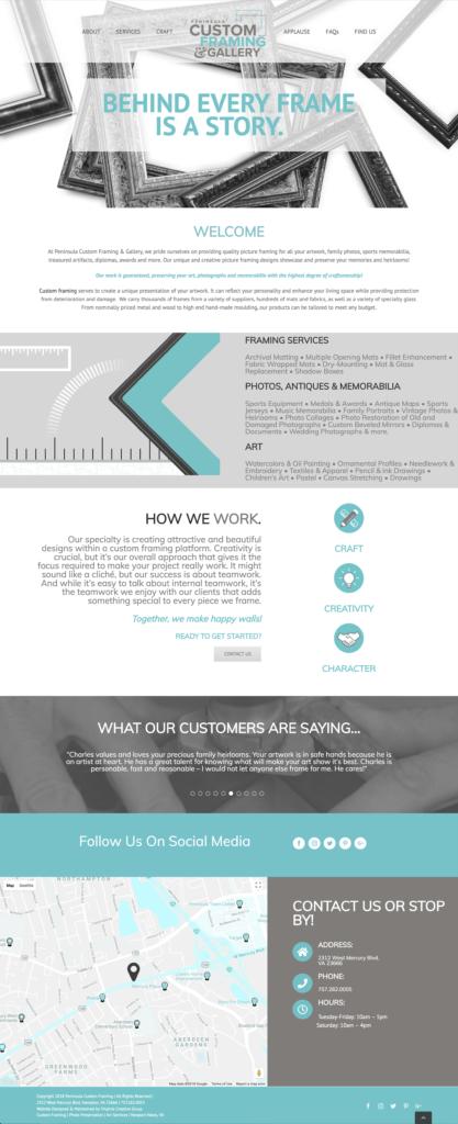 Peninsula Custom Framing Website - Virginia Creative Group